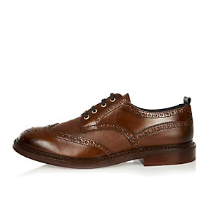 Brown Italian leather wingtip brogues