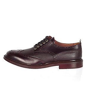Dark red Italian leather wingtip brogues