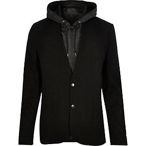 Black hoodie insert slim blazer