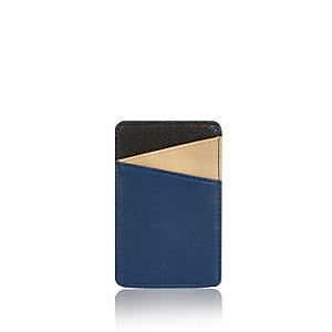 Blue color block card holder