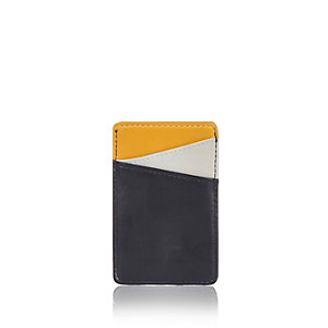 Navy color block card holder
