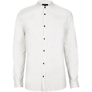 White placket detail collarless grandad shirt