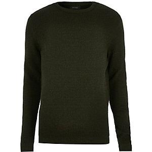 Dark khaki textured jumper