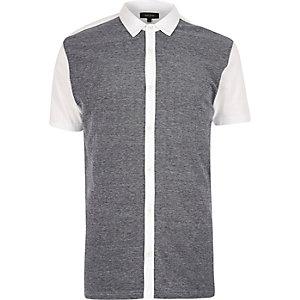 Blue contrast front short sleeve shirt