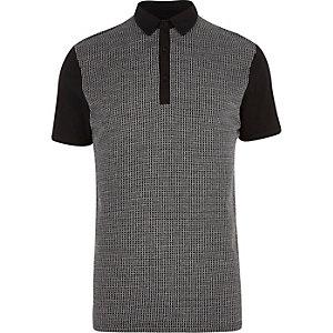 Black grid jacquard polo shirt