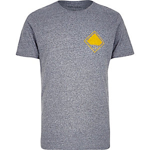 Grey yellow arrow print t-shirt