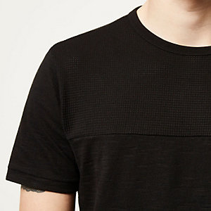 Black textured block panel t-shirt