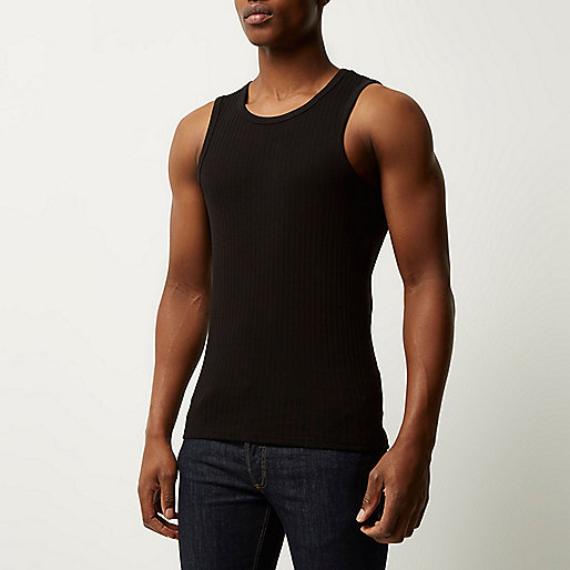 Black slim fit ribbed vest