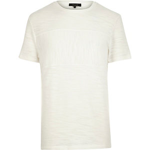 Ecru marl panel t-shirt