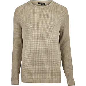 Stone beige textured waffle sweater