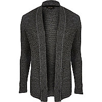 Dark grey textured knitted cardigan