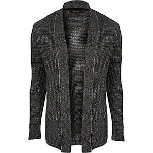 Dark grey textured knitted cardigan