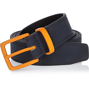Navy Lou Dalton slim leather belt