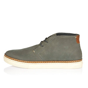 Grey nubuck leather boots