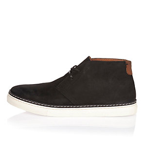 Black nubuck leather boots