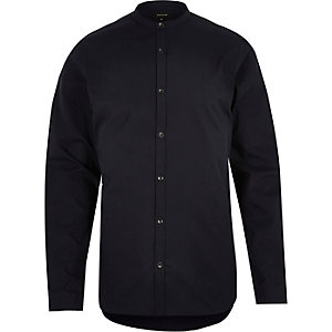 Navy poplin grandad collar shirt
