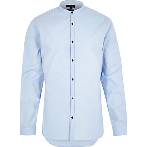 Blue poplin grandad collar shirt