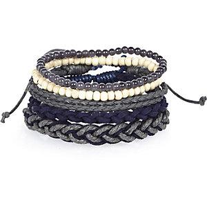 Navy beaded bracelets pack