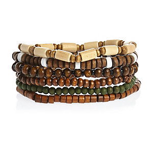 Brown beaded bracelets pack