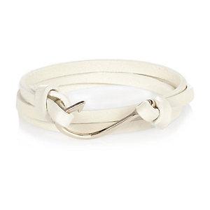 Ecru leather wrap hook bracelet