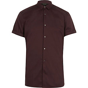 Dark red short sleeve popper slim shirt