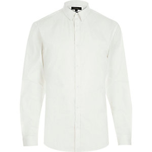 White stretch long sleeve slim shirt