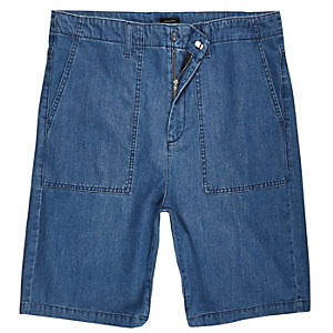 Mid blue wash wide leg denim worker shorts
