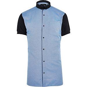 Blue contrast body short sleeve shirt