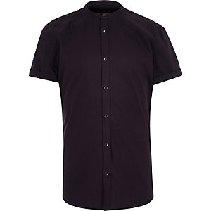 dark purple poplin grandad collar shirt