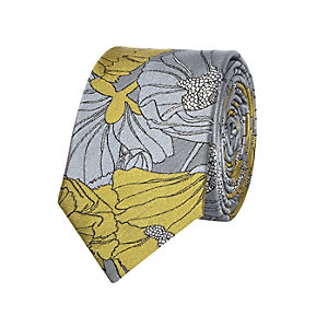 Yellow silk large floral print tie