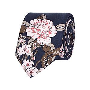 Navy silk Japanese floral print tie
