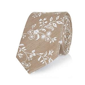 Beige silk floral tie