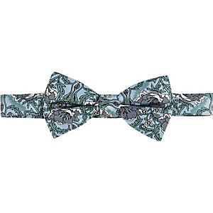 Green silk retro floral bow tie