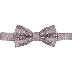 Grey silk geometric bow tie