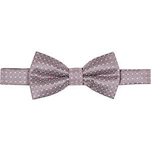 Grey silk geometric bow tie