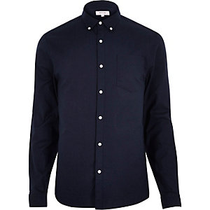 Navy blue Oxford slim shirt