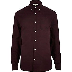 Dark red Oxford slim shirt