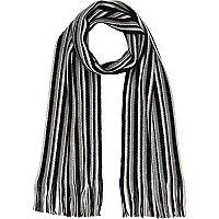Blue striped tasselled scarf