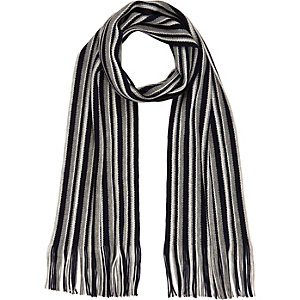 Blue striped tasselled scarf