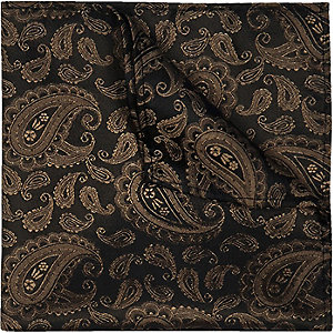 Brown silk paisley pocket square