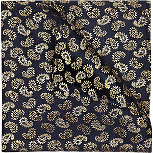 Navy silk gold paisley pocket square