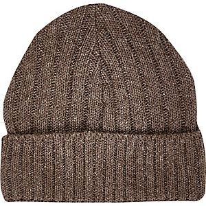 Brown ribbed knitted beanie hat