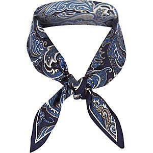 Navy silk paisley print scarf
