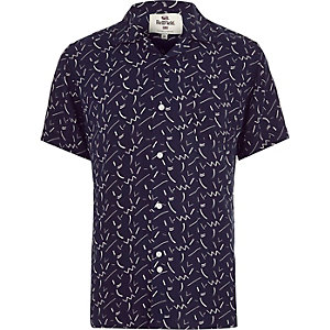 Navy Bellfield retro print shirt