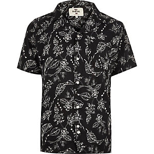 Black Bellfield leaf print shirt