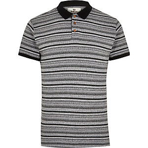 Black Bellfield print polo shirt