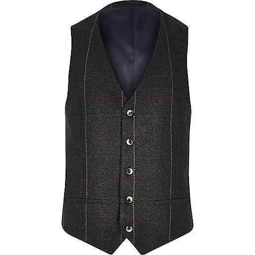 Dark green check waistcoat