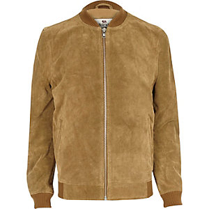 Brown Bellfield suede bomber jacket