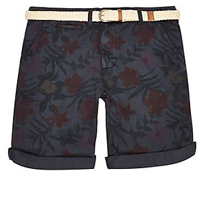Navy Bellfield belted shorts
