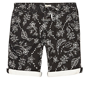 Black Bellfield print knee length shorts